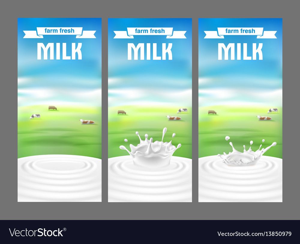 A set of labels for milk