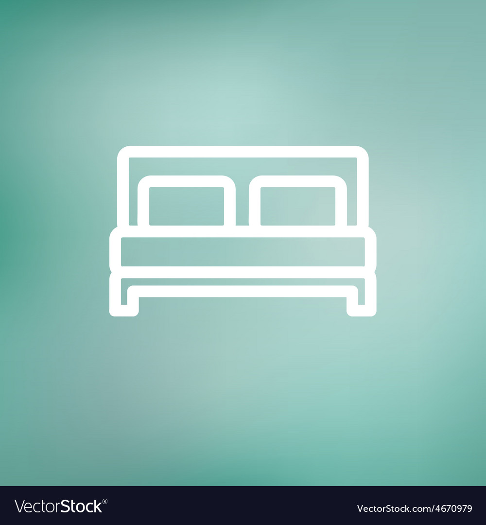 Double bed thin line icon