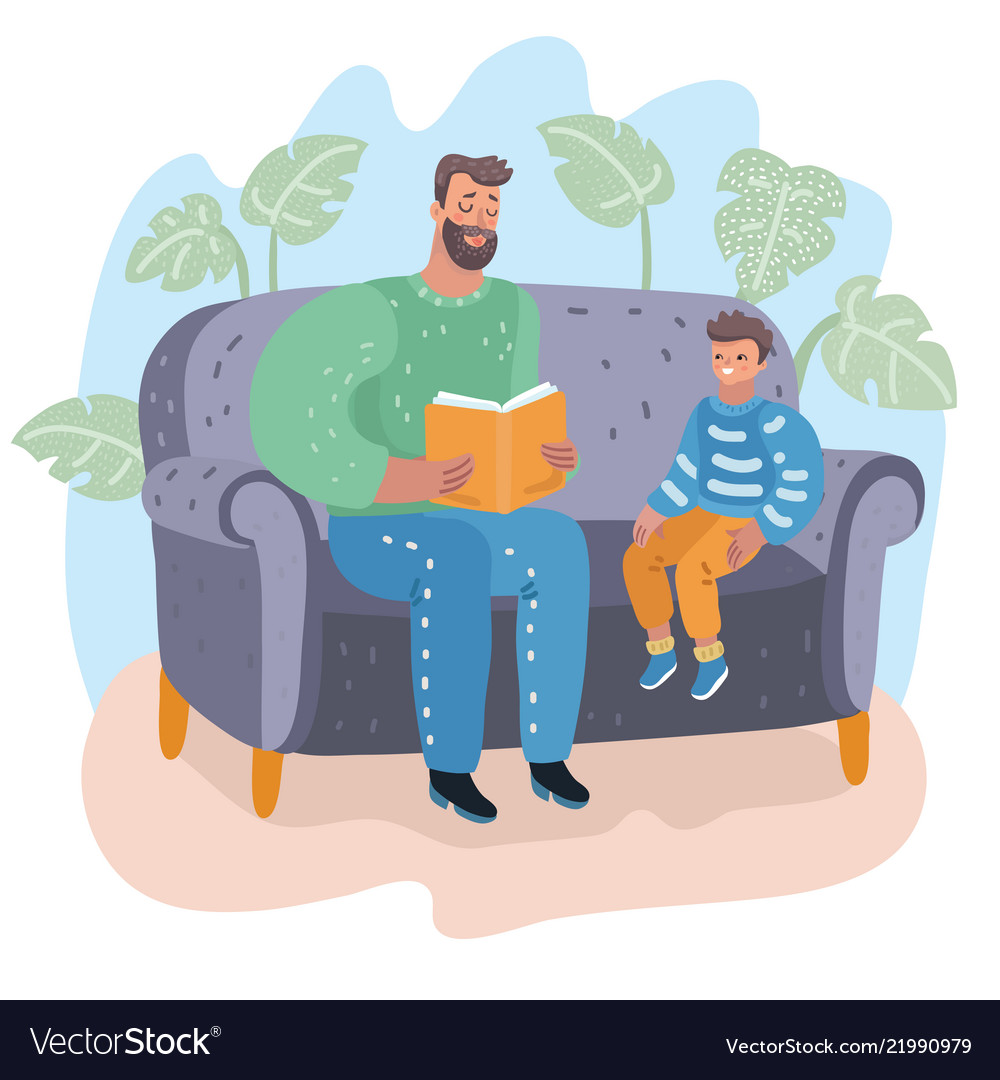 Father reading book to his son childs education
