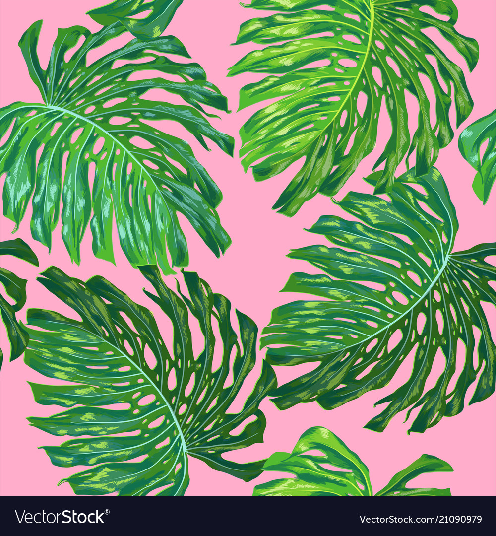 Floral tropical seamless pattern palm leaves