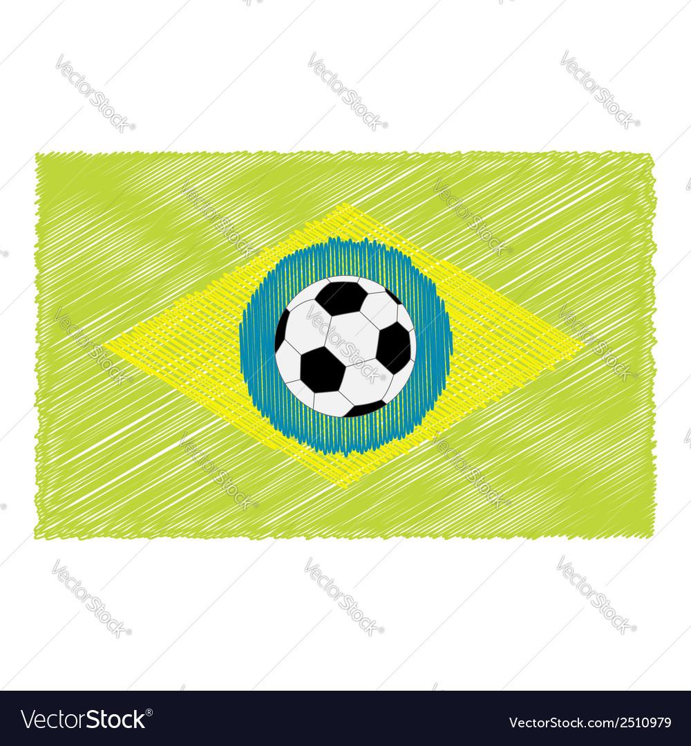Football soccer ball brazil flag Scribble effect