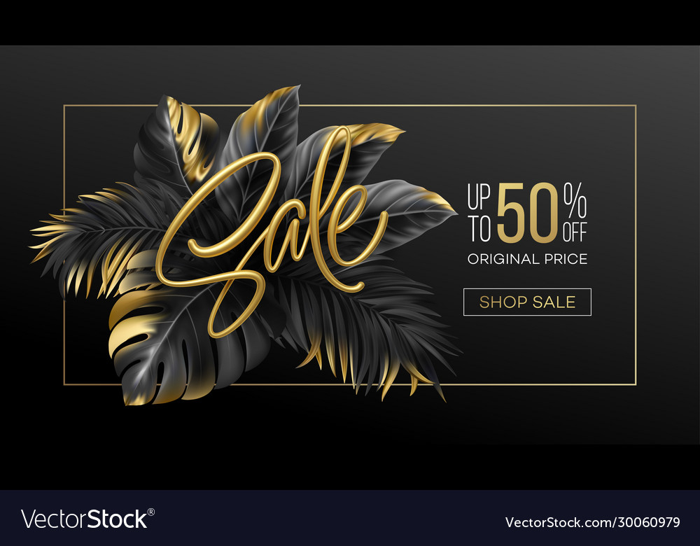 Gold metallic summer sale lettering on a black