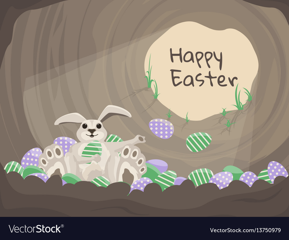 Happy easter card background with rabbit