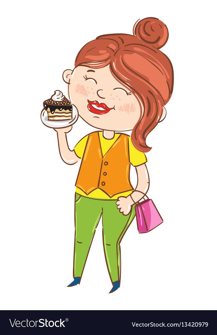 Happy young girl cartoon character
