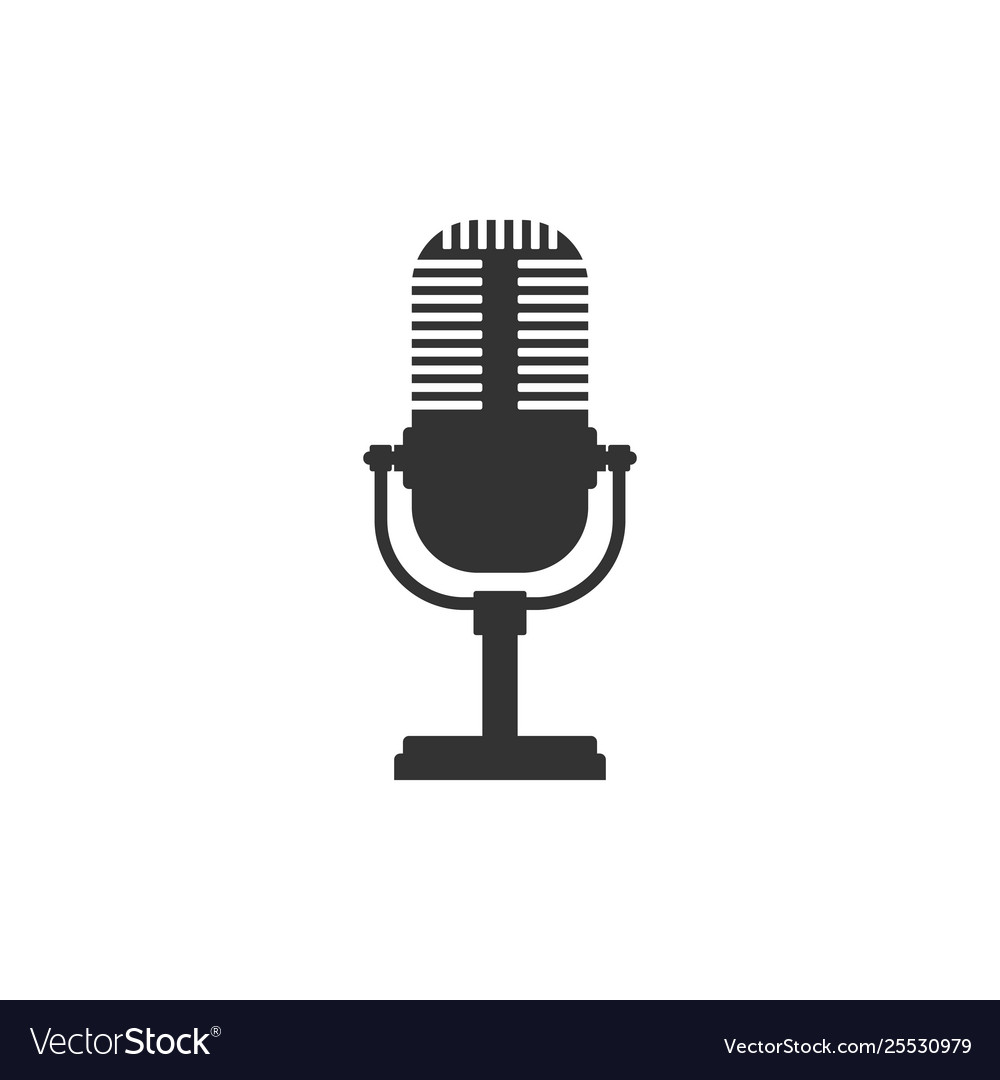 Microphone icon isolated flat design