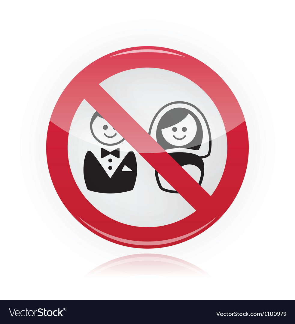 No marriage no wedding no love warning red sign vector image