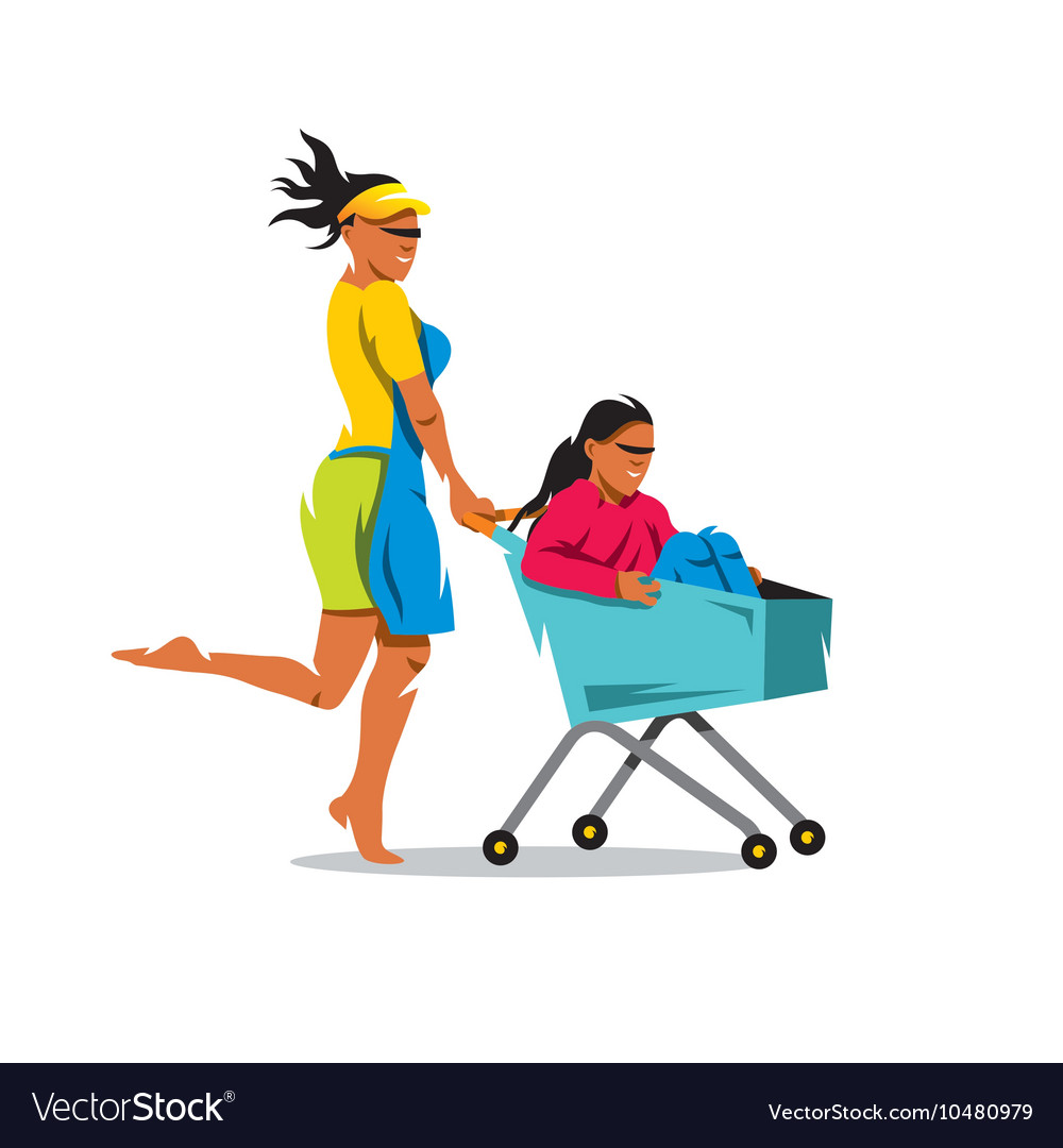 Racing On The Shopping Trolley Cartoon Royalty Free Vector