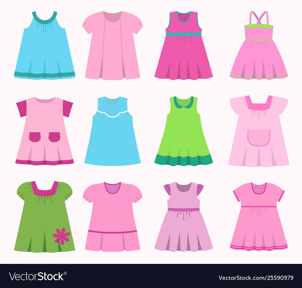 a19ac1f05 Set different childrens dresses for bagirls Vector Image