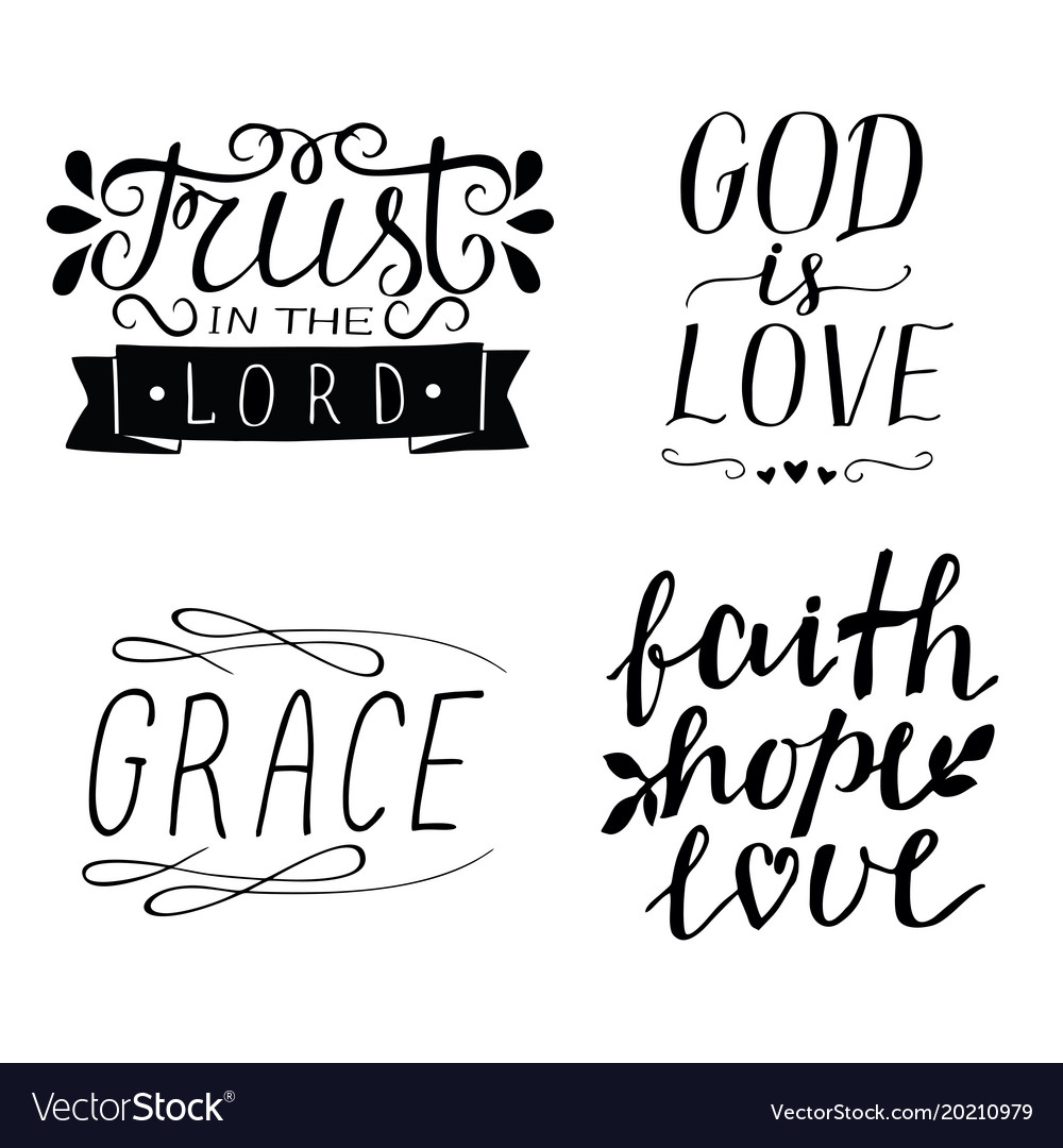 Set Of 4 Hand Lettering Christian Quotes God Is Vector Image