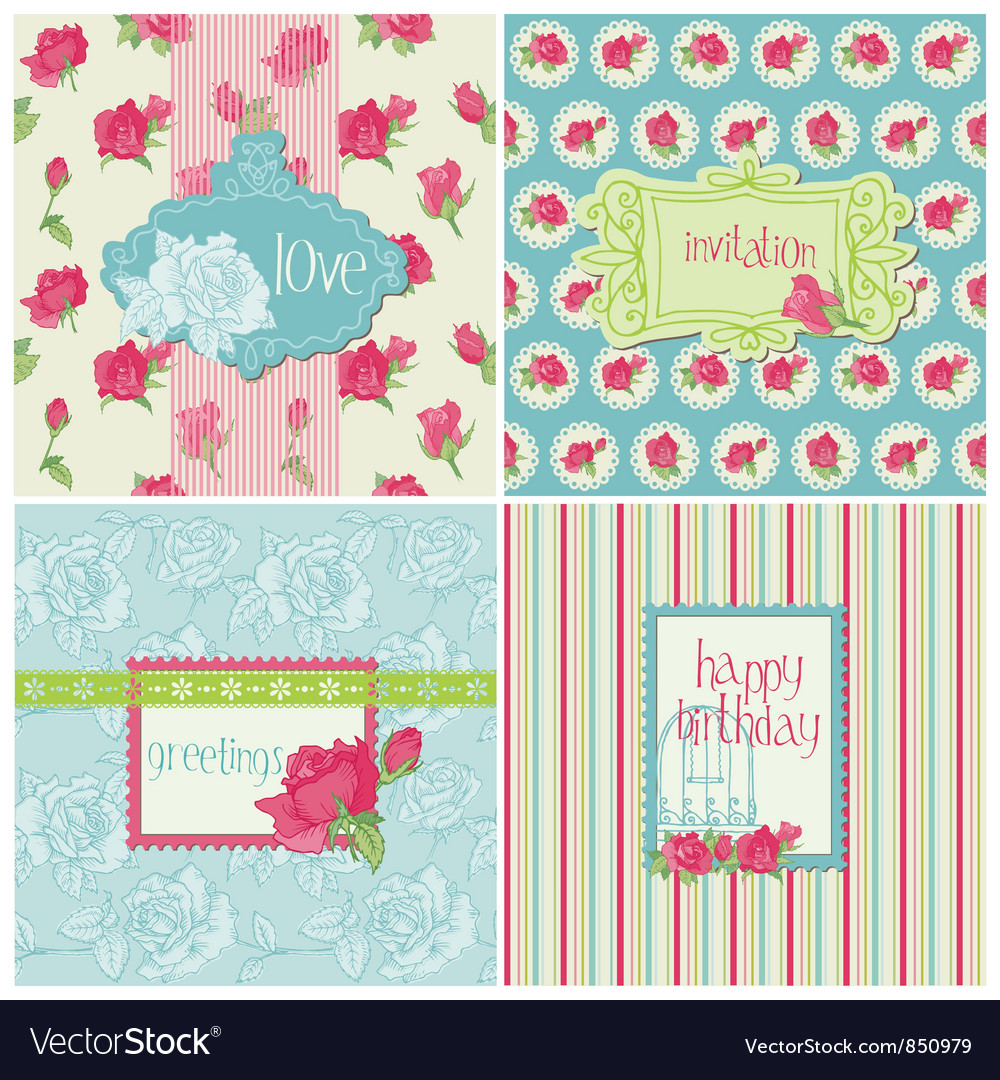 Set of Colorful Cards with Rose Elements