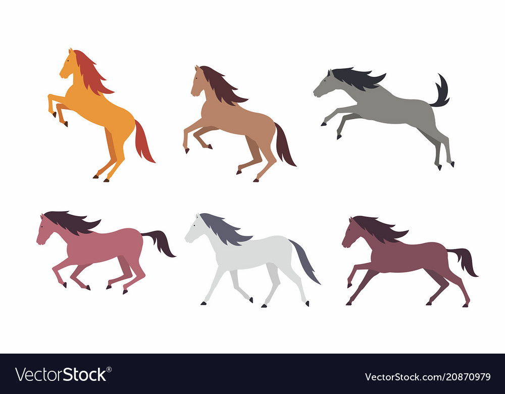 Set of colorful horses