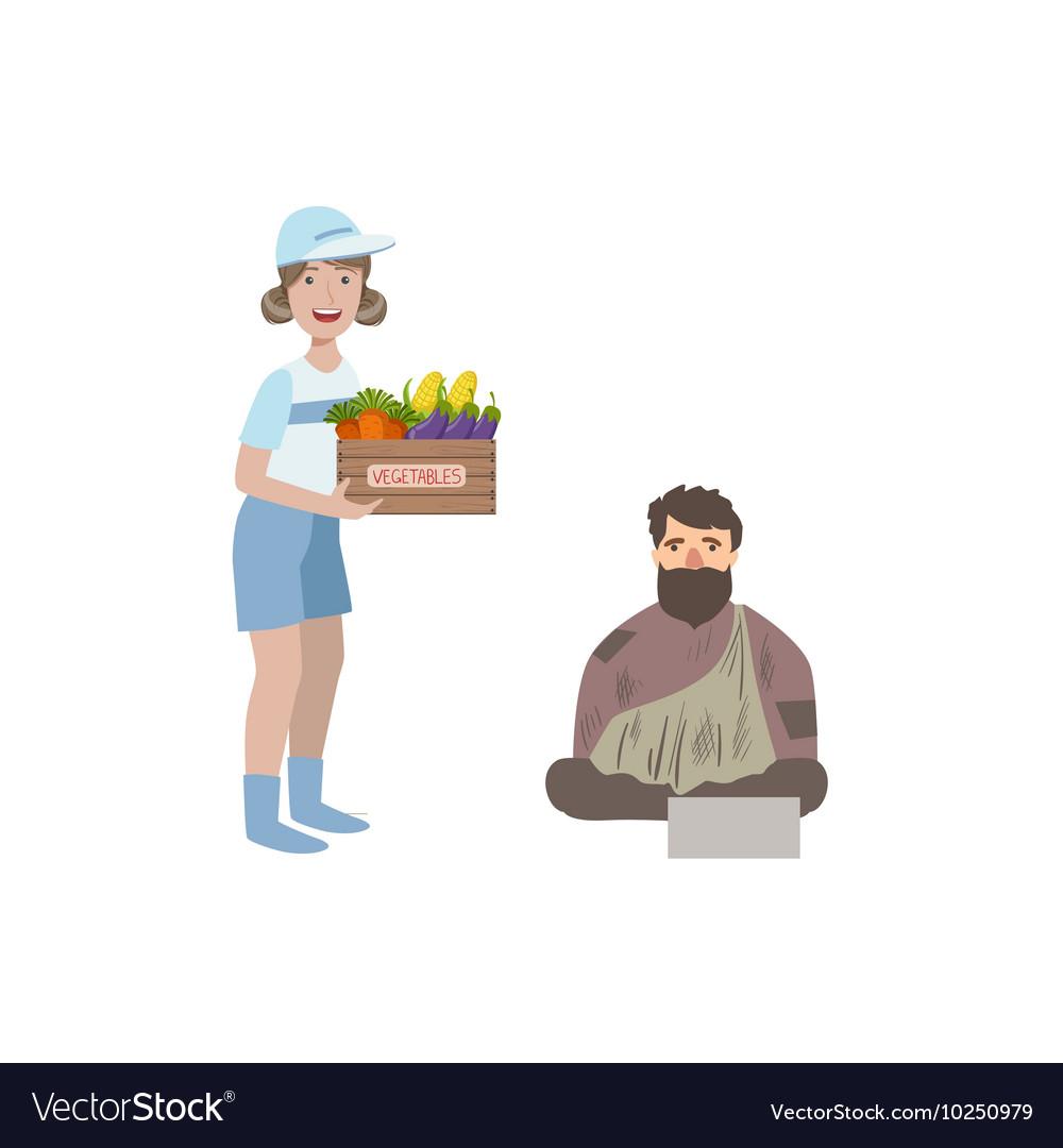 Volunteer Giving Food To Homeless Man vector image