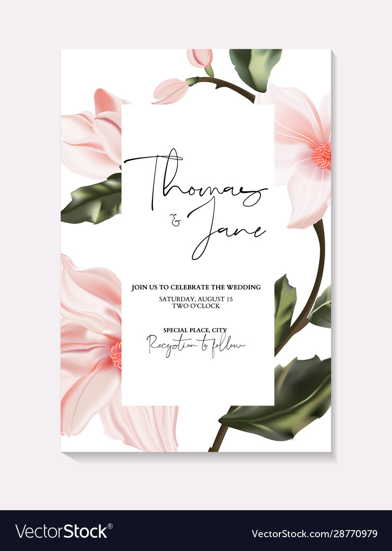 Wedding invitation frame composition with flowers
