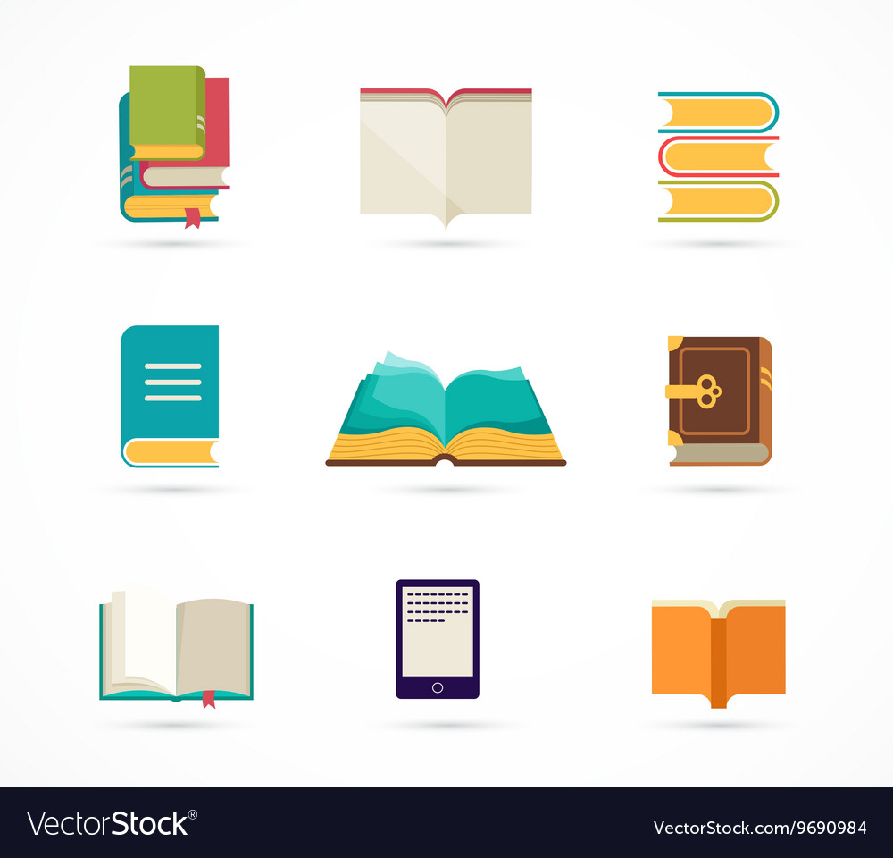 Collection of books icons vector image