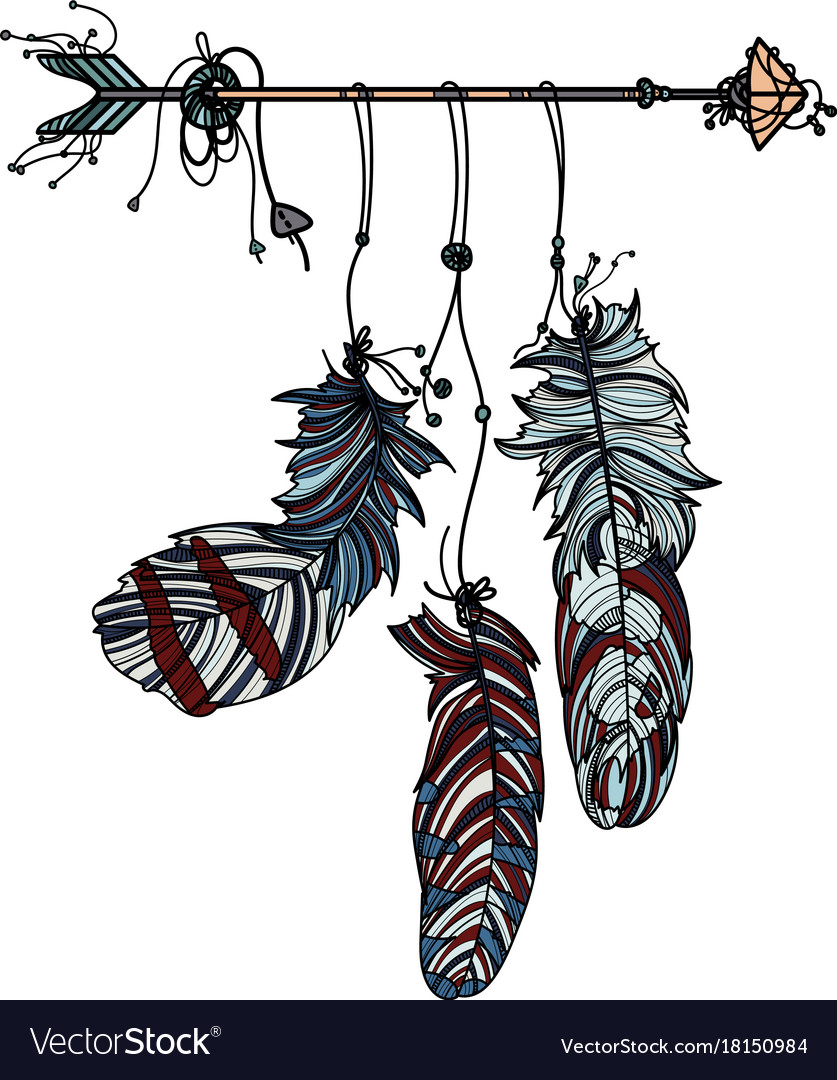Dreamcatcher with ethnic arrow and feathers