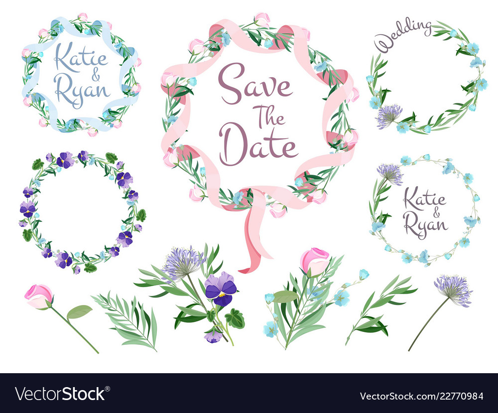 Floral branches frames flowering wreath ribbons