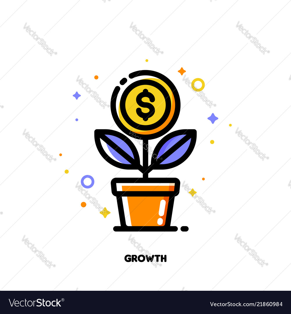 Icon of growing money tree with dollar coin