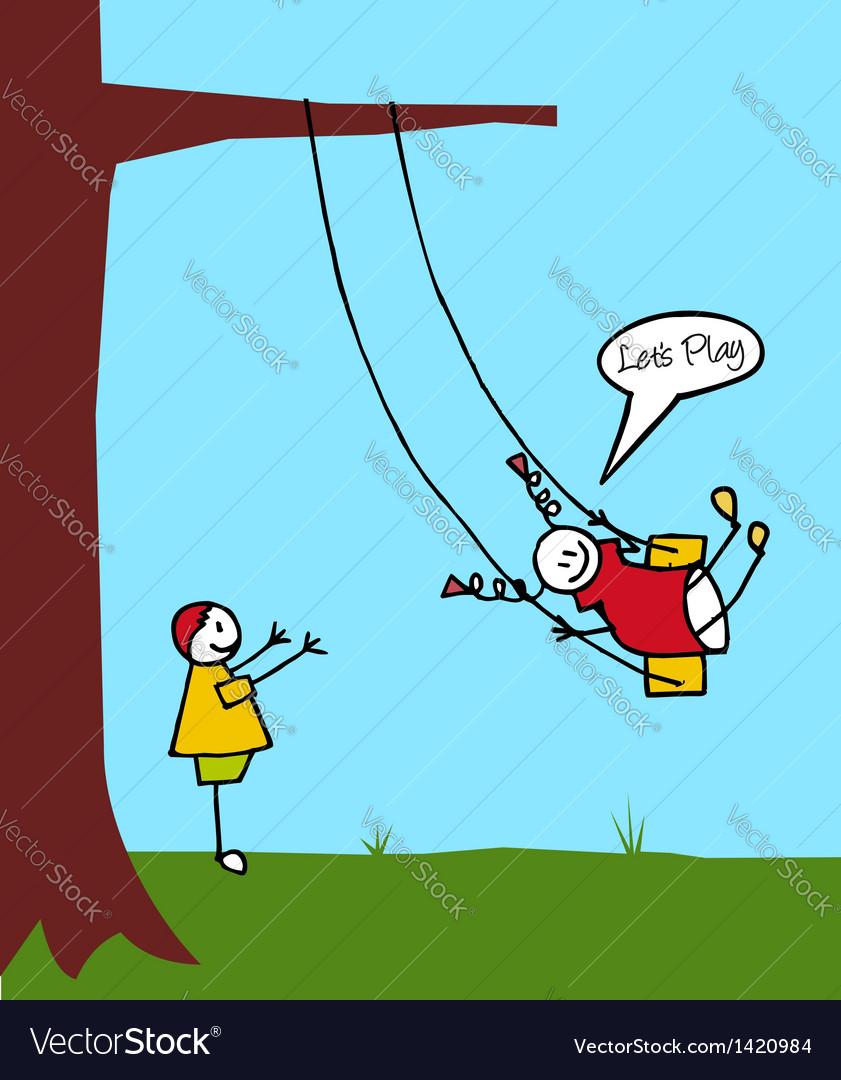 Kids swinging in the garden