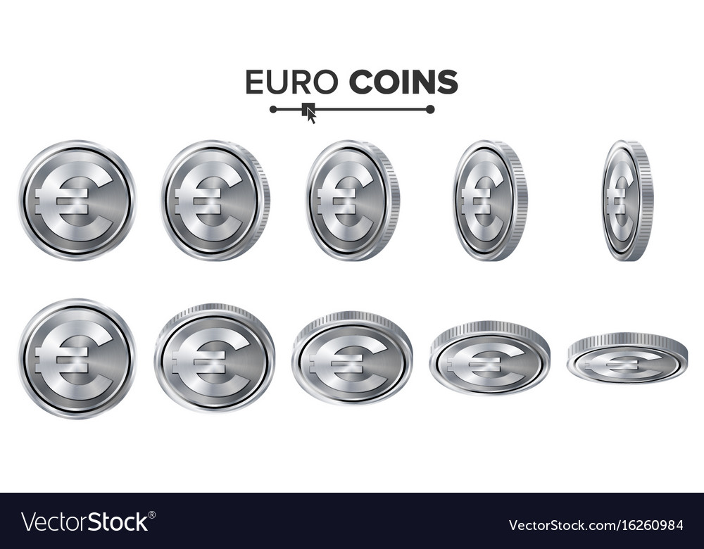 Money euro 3d silver coins set realistic