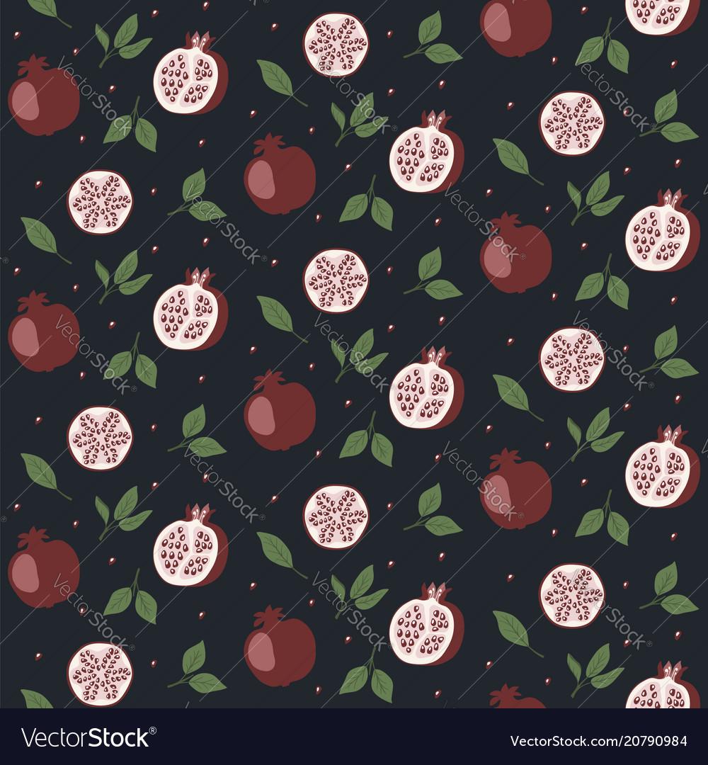 Seamless pattern with cartoon pomegranates seeds