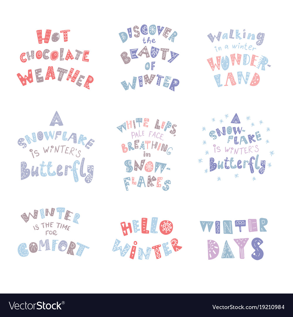 Set of winter quotes and phrases hand drawn