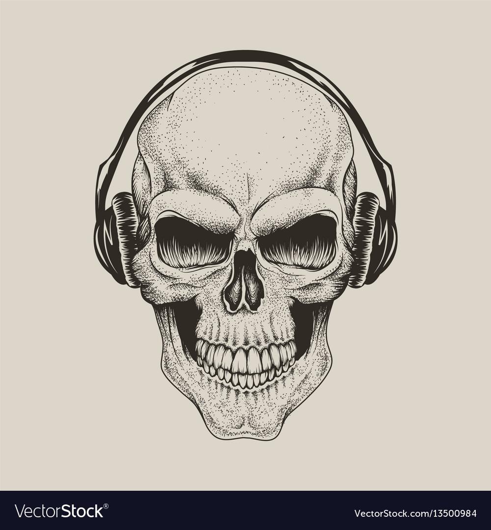 Skull in headphones listen a music