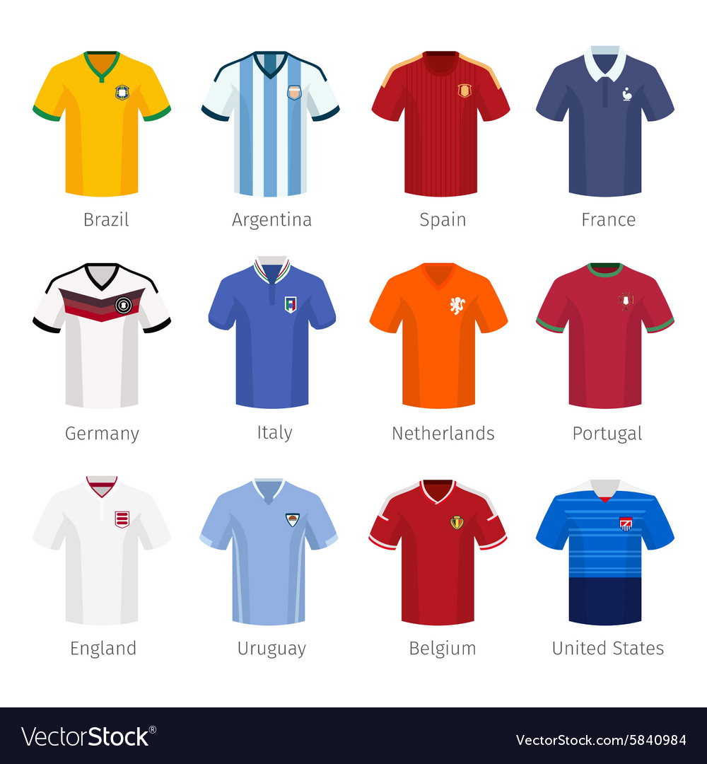 Soccer uniform or football of national teams