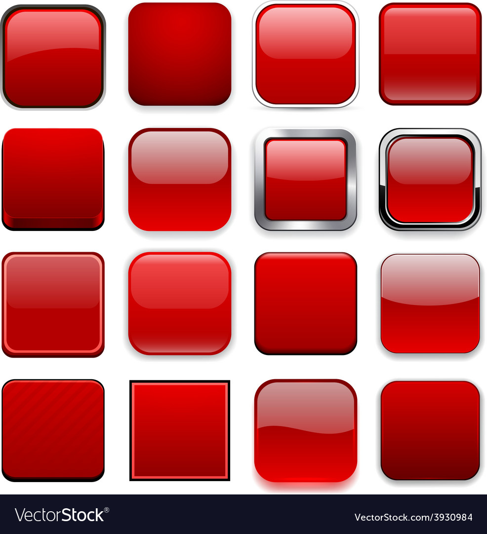 Square red app icons