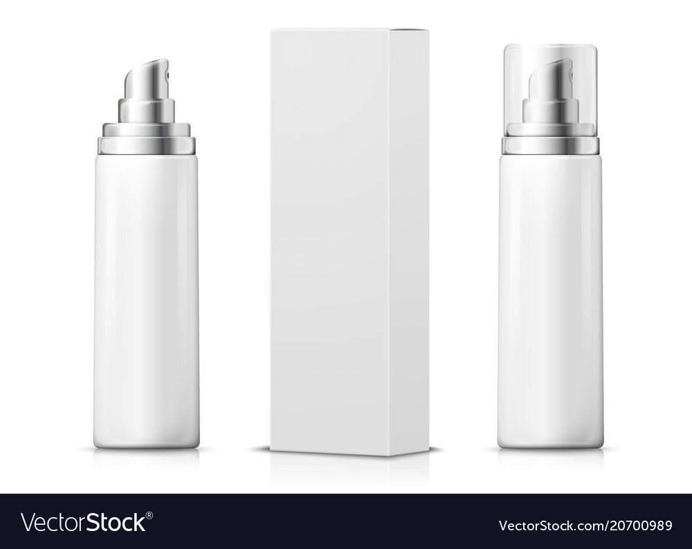 3d realistic spray bottles with paper box
