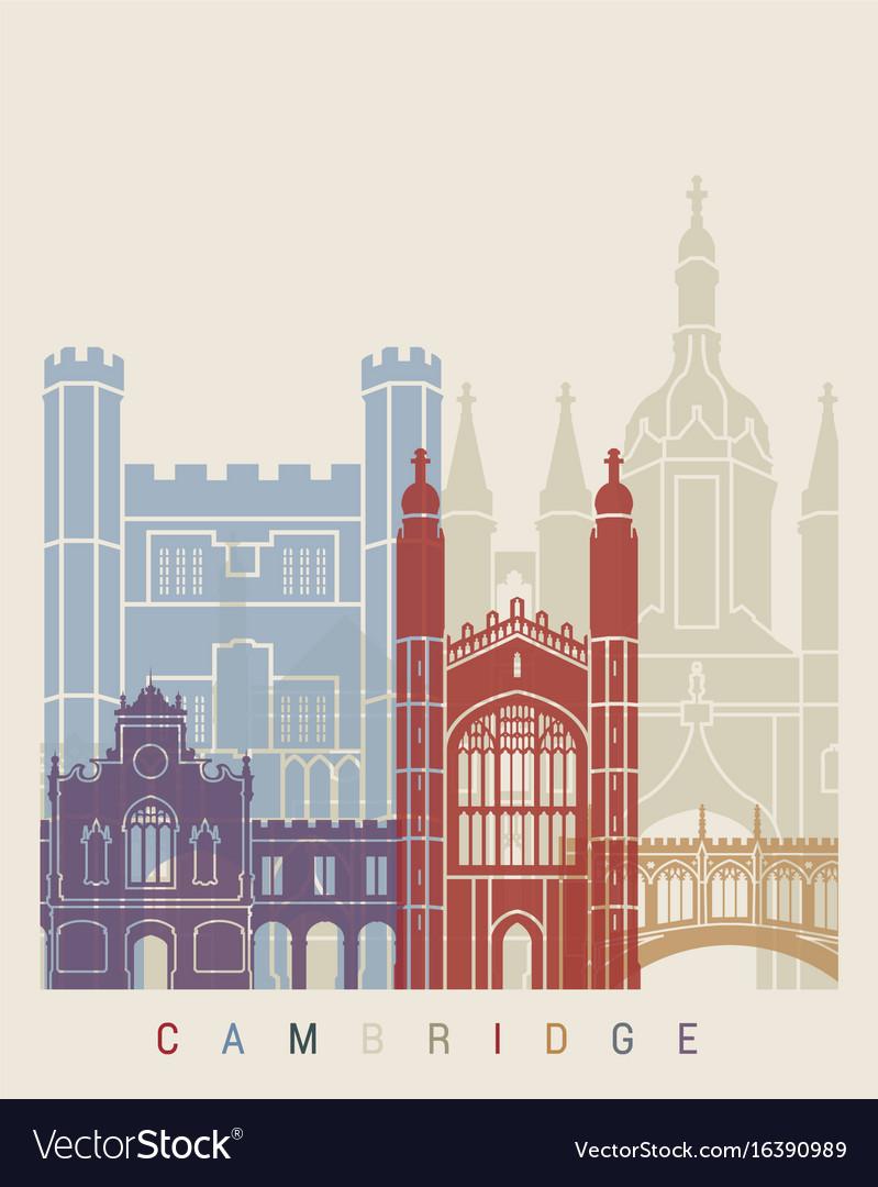 Cambridge skyline poster vector image