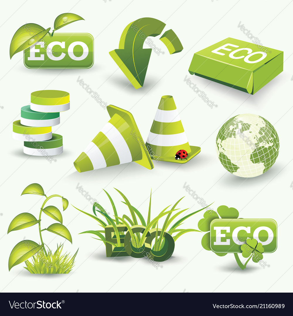 Eco icons template set of graphic design elements