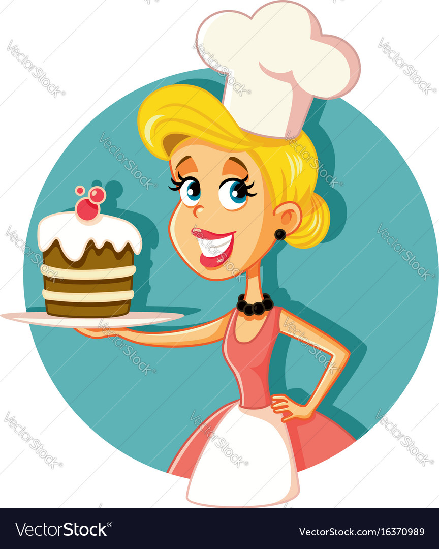 Female pastry chef baking a cake