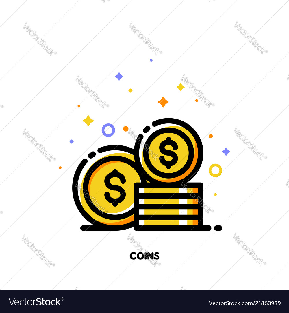Flat icon of coins stack for money concept