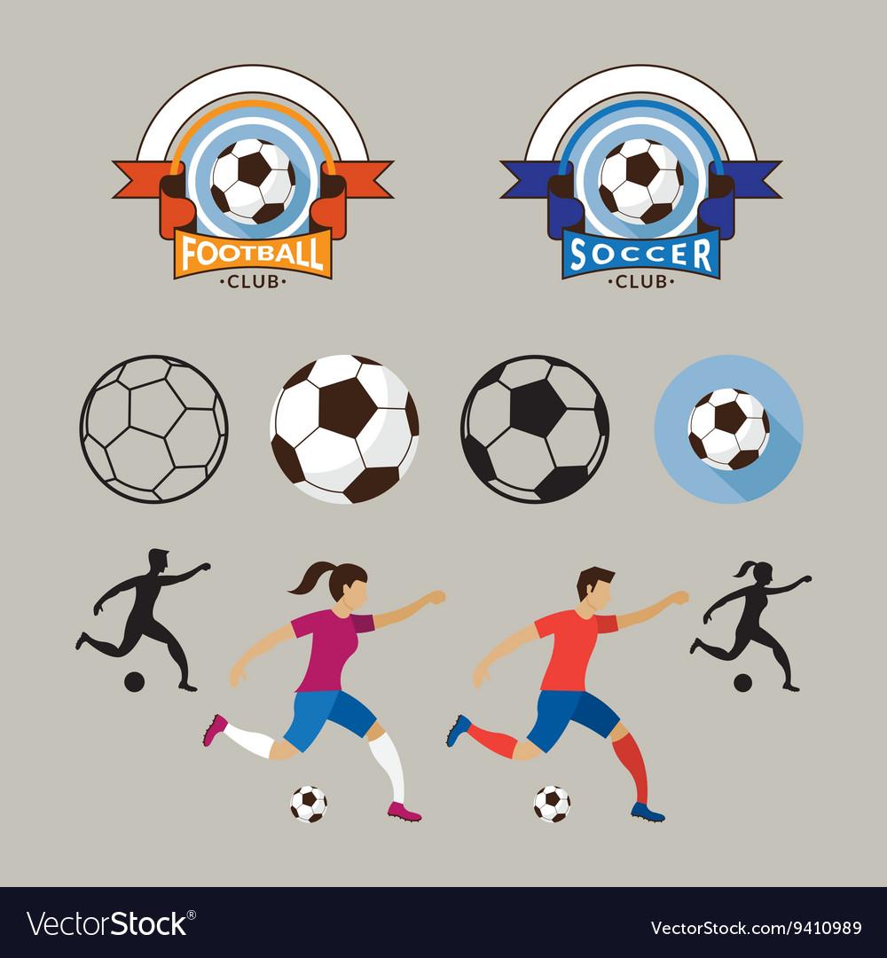 Football or Soccer Player and Graphic Elements