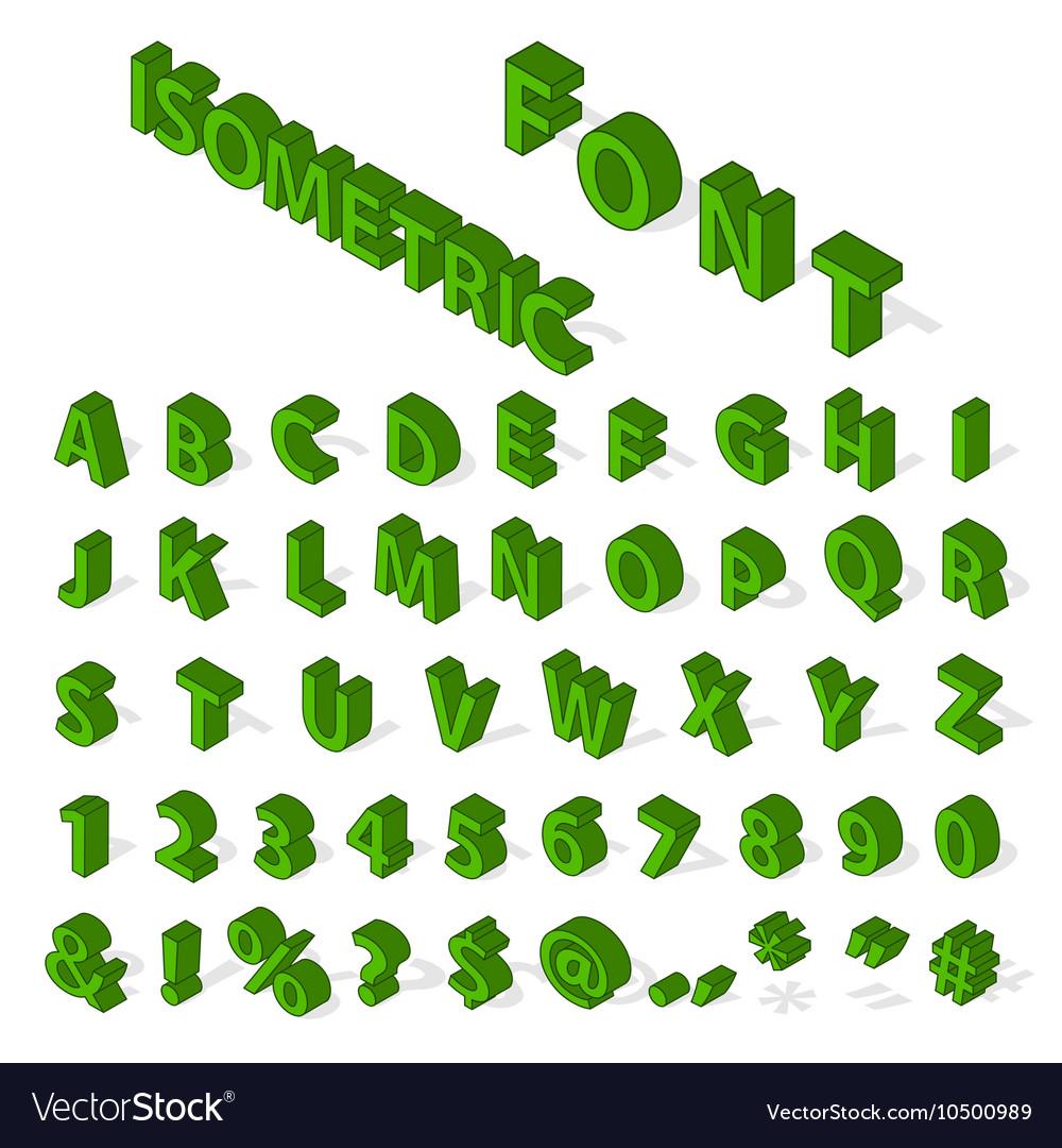 Isometric alphabet font