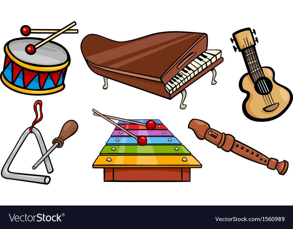Musical objects cartoon set