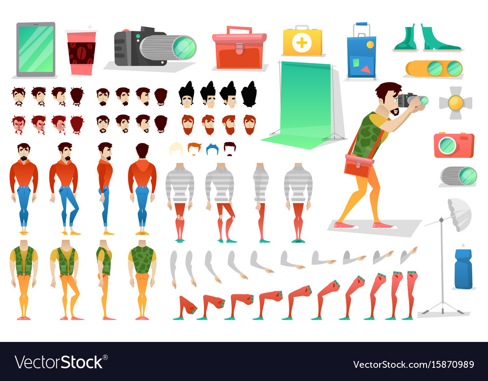 Photographer character creation constructor vector image