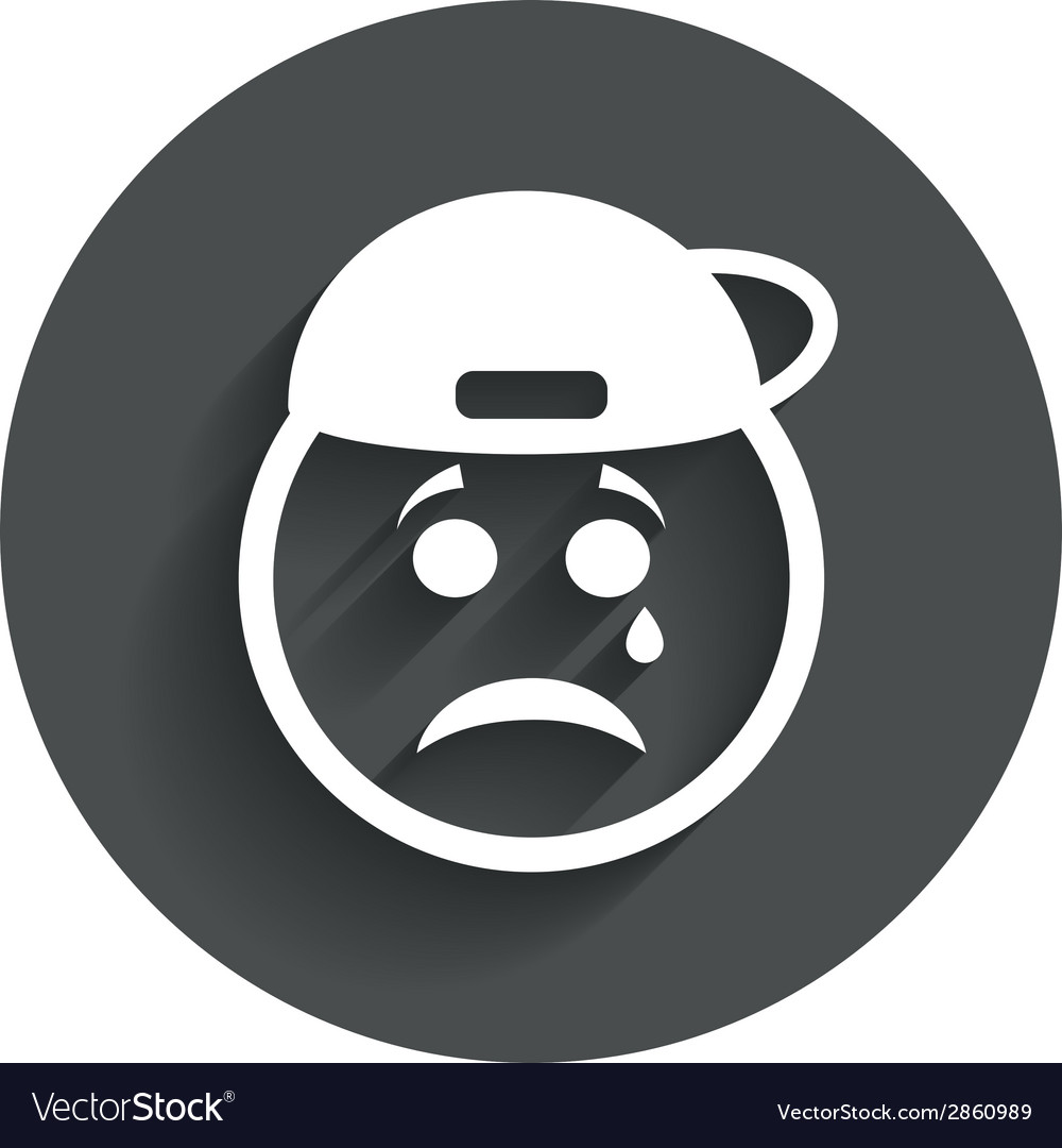 Sad Rapper Face With Tear Icon Crying Symbol Vector Image