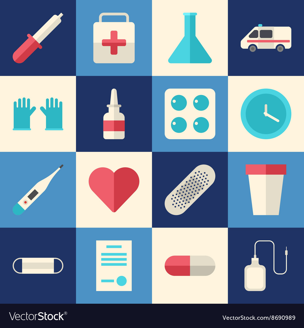 Set of Flat Style Medical Icons Healthcare