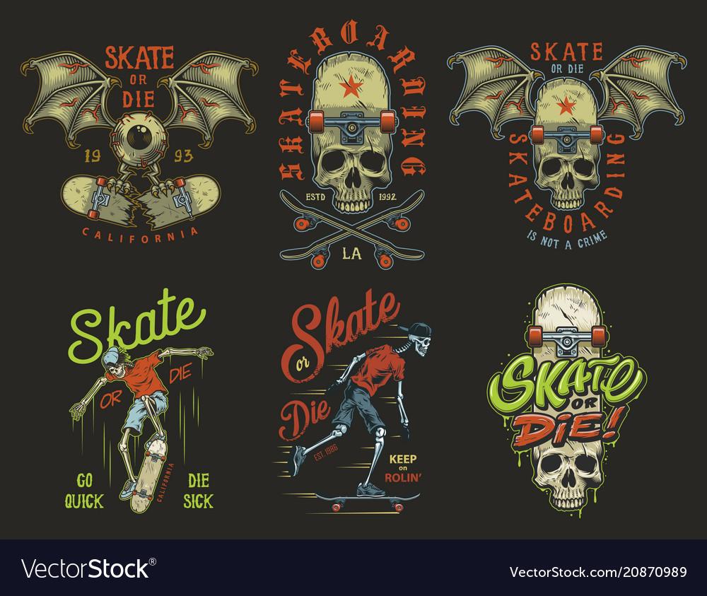 Set skateboarding emblems