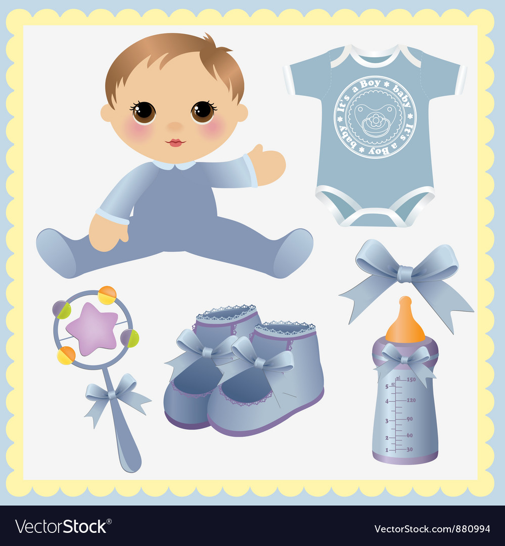 Cute collection of baby design elements