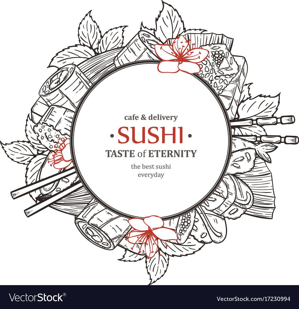 Doodle sushi restaurant and delivery design