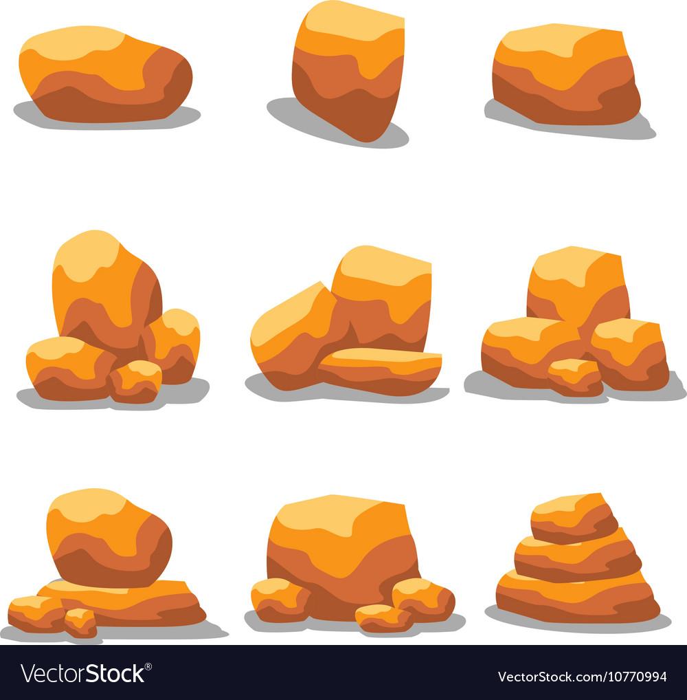 Golden rock set vector image