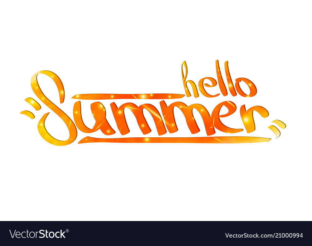 Hello summer hand painted calligraphy