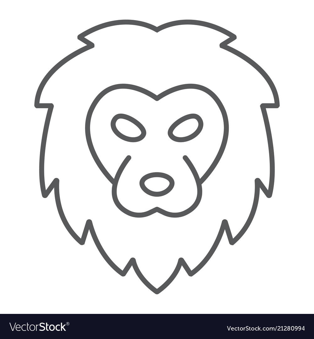 Lion thin line icon animal and zoo cat sign