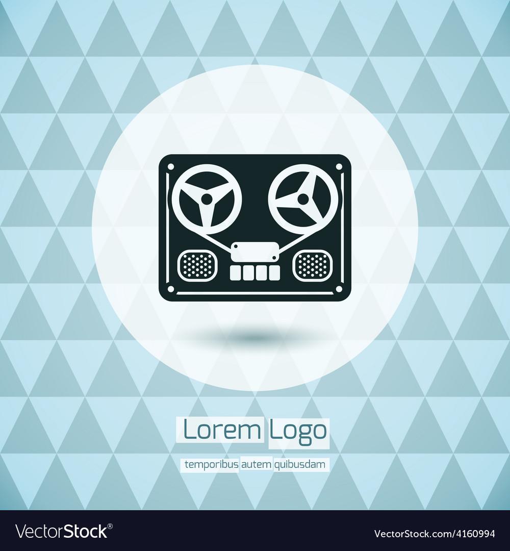 Reel tape deck recorder logo icon