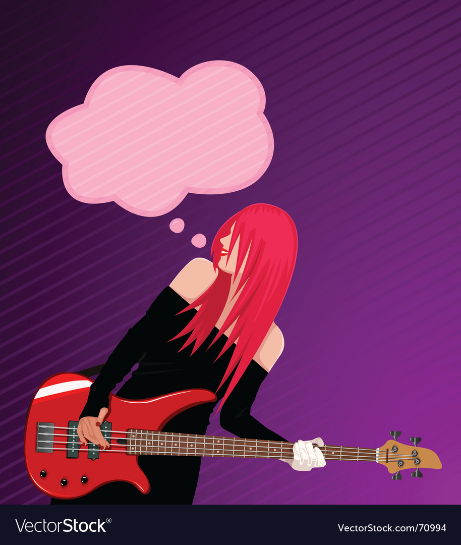 Rock girl with speech bubble vector image