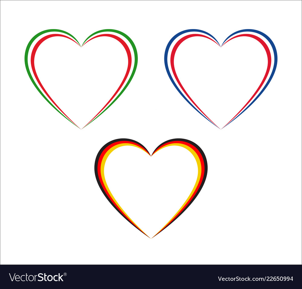 Set of three hearts in italian french and german