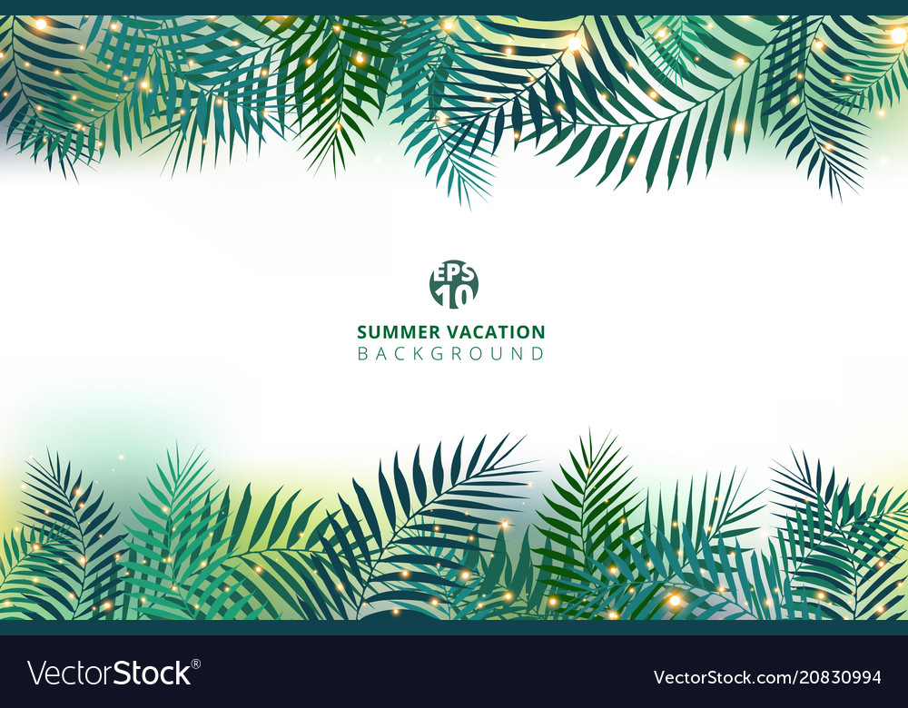 Summer time vacation and green palm leaves