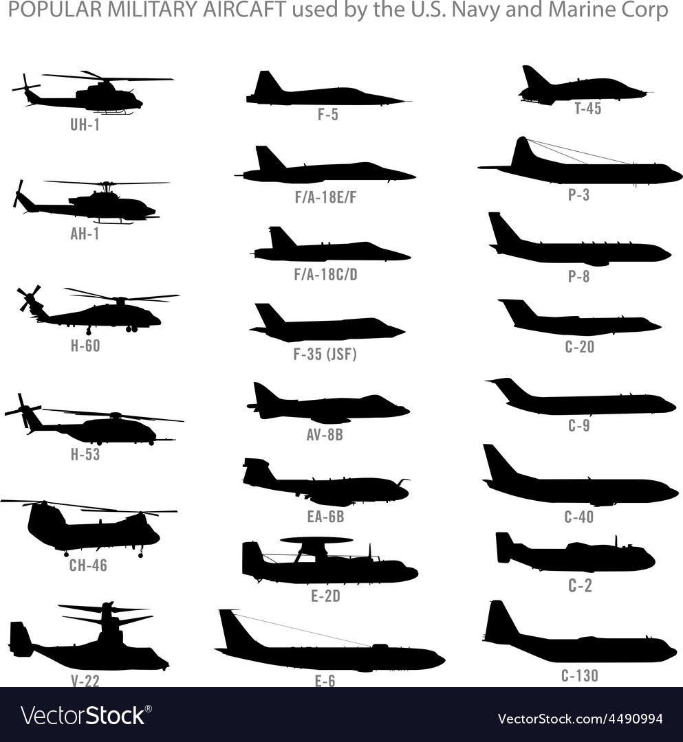 US Modern Military Aircraft Silhouettes
